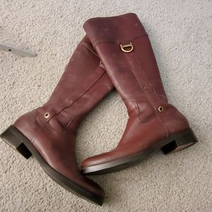 Bally brown leather moto boots